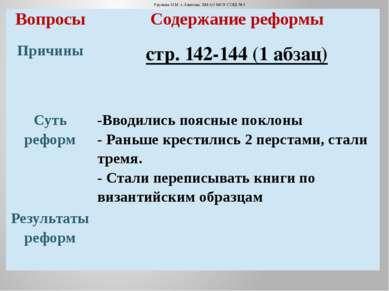 Урунова Н.М. г.Лангепас ХМАО МОУ СОШ №3 Вопросы Содержание реформы Причины ст...