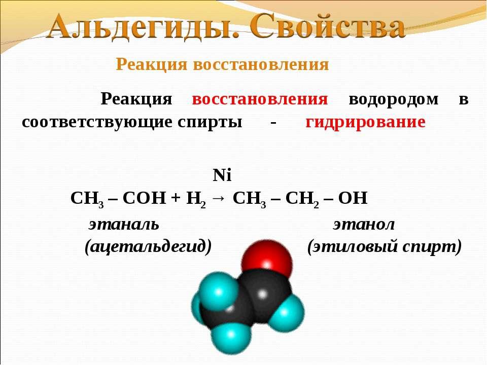 Реакция восстановления водородом в соответствующие спирты - гидрирование Ni С...