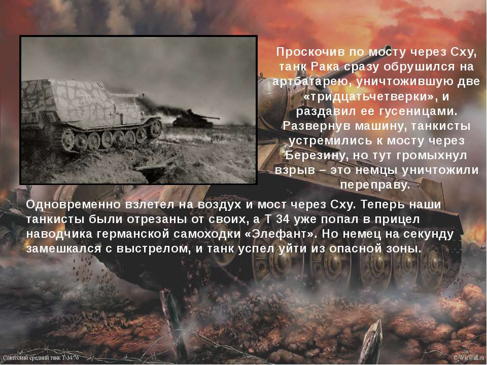 Проскочив по мосту через Сху, танк Рака сразу обрушился на артбатарею, уничто...
