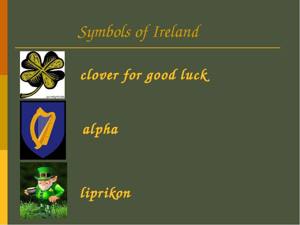 Symbols of Ireland clover for good luck alpha liprikon