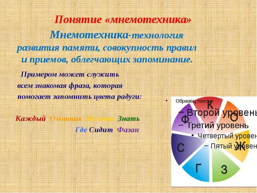 Задачи и методы мнемотехники совершенствование восприятия,зрения, слуха, такт...
