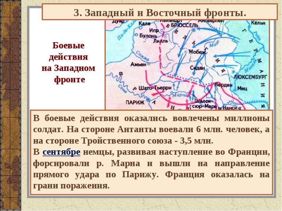 3. Западный и Восточный фронты. Боевые действия на Западном фронте В боевые д...