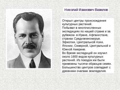 Николай Иванович Вавилов Открыл центры происхождения культурных растений. Поб...