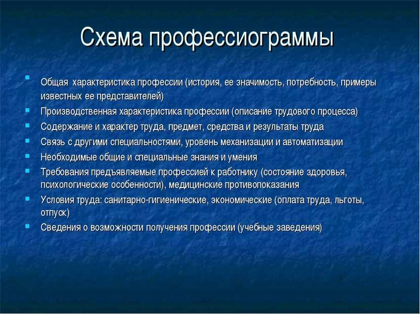 Схема профессиограммы Общая характеристика профессии (история, ее значимость,...