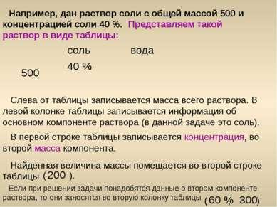 Например, дан раствор соли с общей массой 500 и концентрацией соли 40 %. Пред...