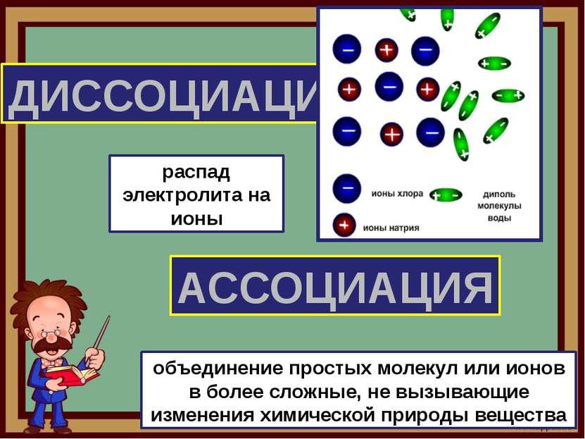 ДИССОЦИАЦИЯ АССОЦИАЦИЯ распад электролита на ионы объединение простых молекул...
