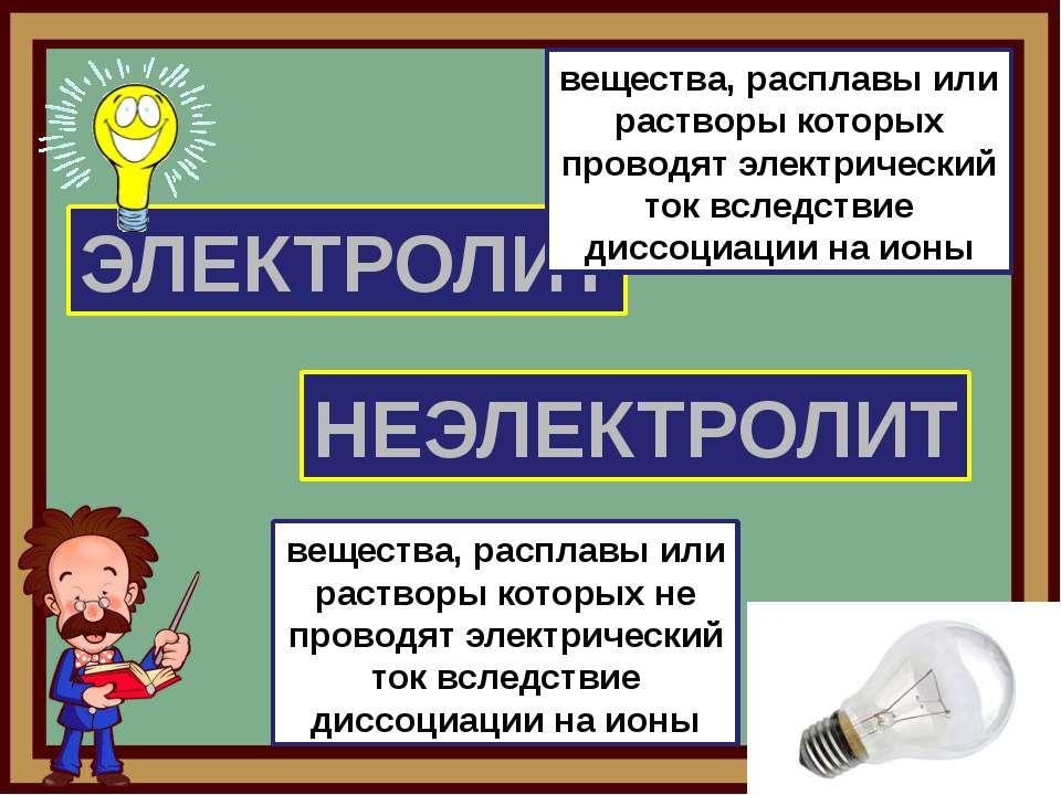 ЭЛЕКТРОЛИТ НЕЭЛЕКТРОЛИТ вещества, расплавы или растворы которых проводят элек...