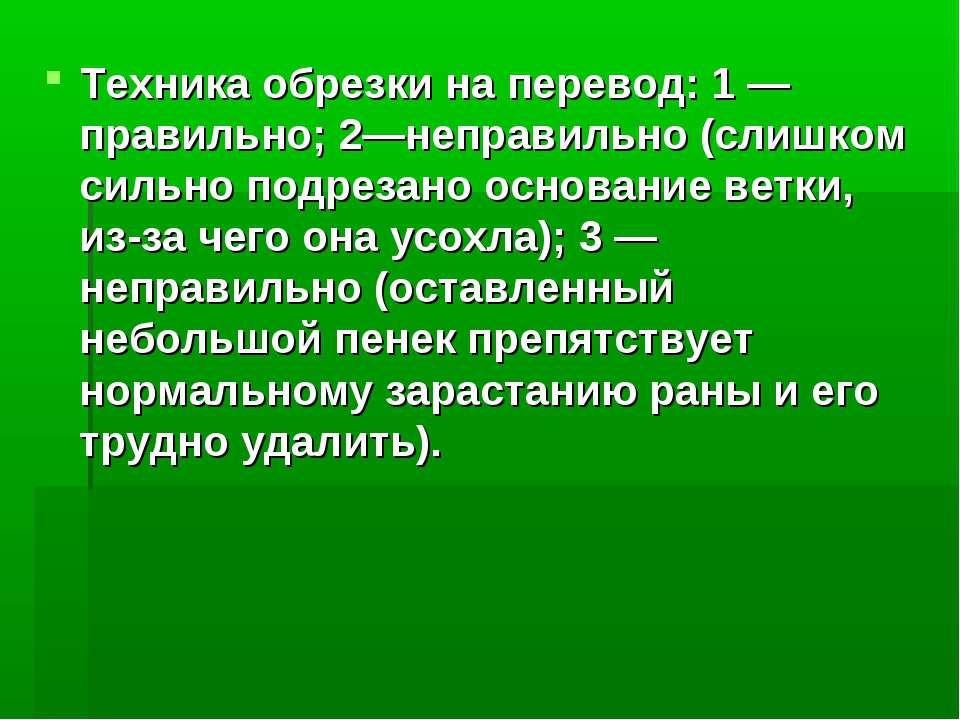 Техника обрезки на перевод: 1 — правильно; 2—неправильно (слишком сильно подр...