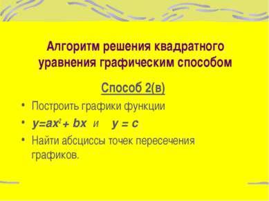 Алгоритм решения квадратного уравнения графическим способом Способ 2(в) Постр...