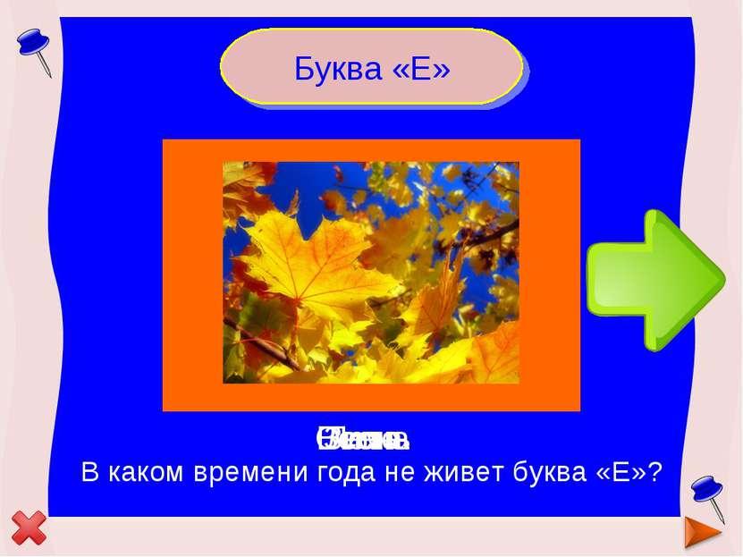 Буква «Е» В каком времени года не живет буква «Е»? Зима Лето Весна Осень