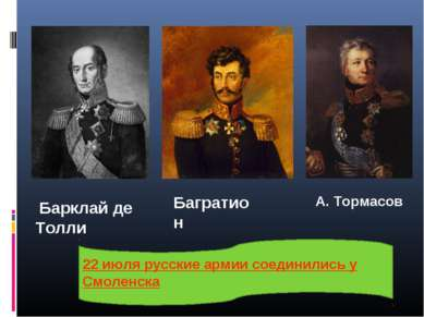 Барклай де Толли Багратион А. Тормасов 22 июля русские армии соединились у См...