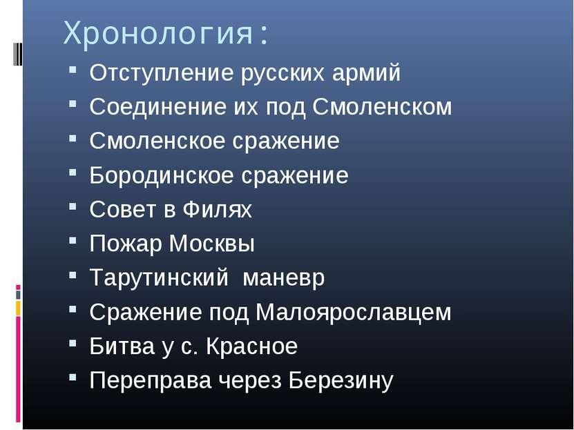 Хронология: Отступление русских армий Соединение их под Смоленском Смоленское...