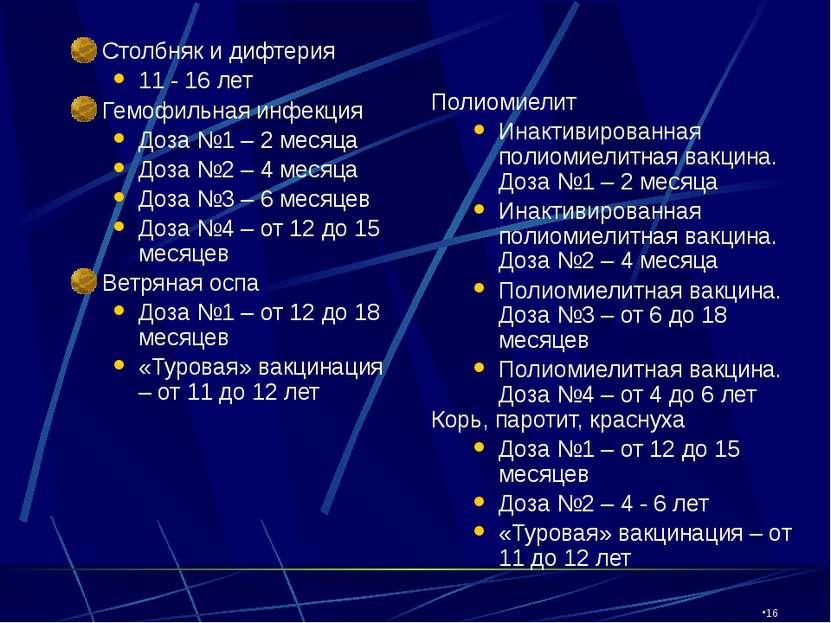 CW360/TTI/VE/LV/03/27/01 Столбняк и дифтерия 11 - 16 лет Гемофильная инфекция...
