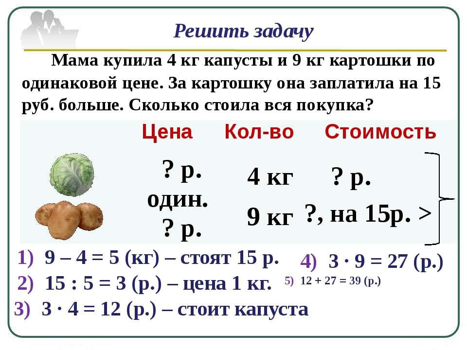 Решить задачу Мама купила 4 кг капусты и 9 кг картошки по одинаковой цене. За...