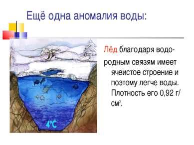 Ещё одна аномалия воды: Лёд благодаря водо- родным связям имеет ячеистое стро...