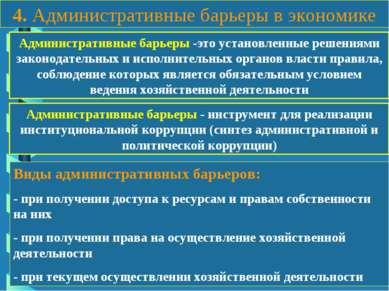 4. Административные барьеры в экономике Административные барьеры -это установ...