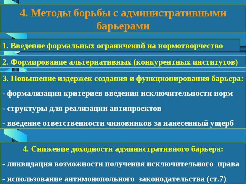 4. Методы борьбы с административными барьерами 1. Введение формальных огранич...