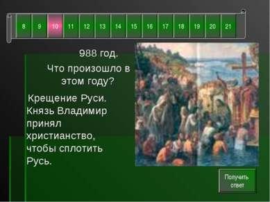 988 год. Что произошло в этом году? Крещение Руси. Князь Владимир принял хрис...