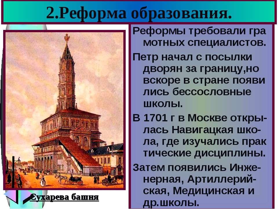 2.Реформа образования. Реформы требовали гра мотных специалистов. Петр начал ...
