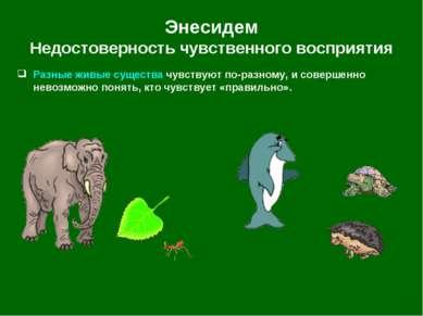 Энесидем Недостоверность чувственного восприятия Разные живые существа чувств...