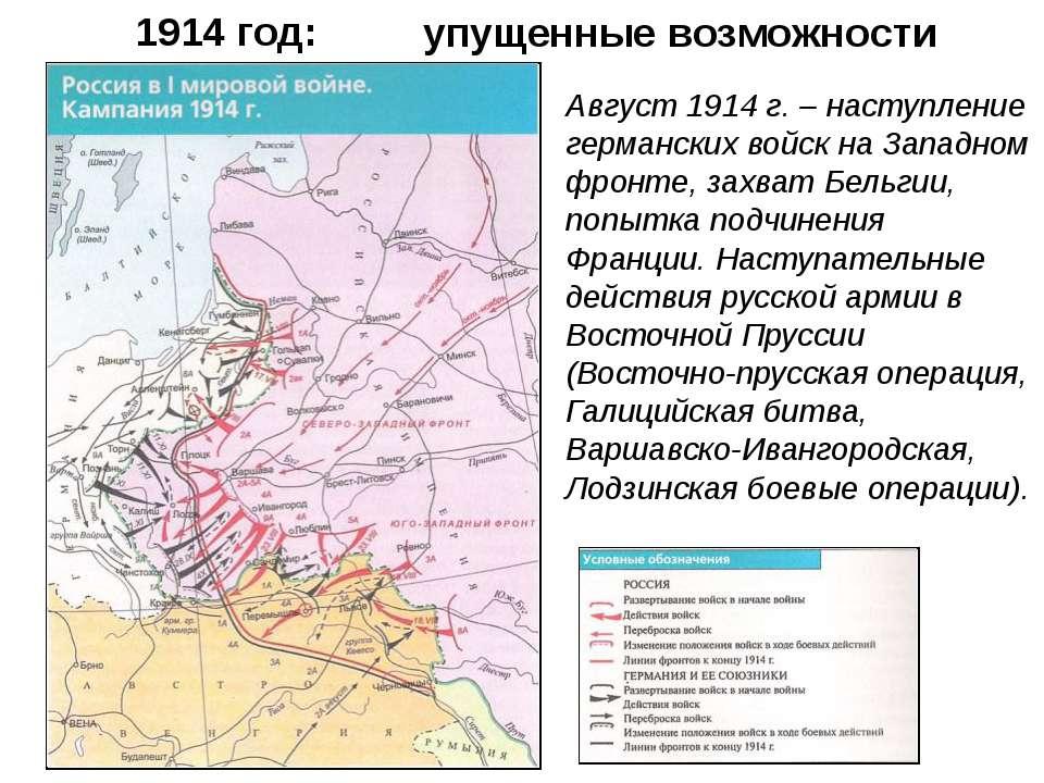 1914 год: Август 1914 г. – наступление германских войск на Западном фронте, з...