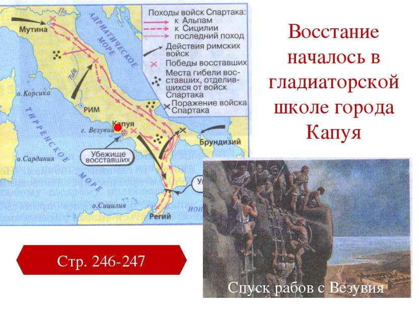 Восстание началось в гладиаторской школе города Капуя Стр. 246-247 Спуск рабо...