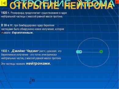 1920 г. Резерфорд предполагает существование в ядре нейтральной частицы с мас...