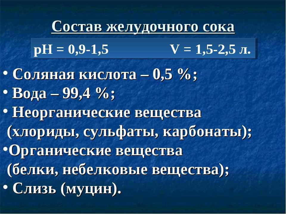 Состав желудочного сока рН = 0,9-1,5 V = 1,5-2,5 л. Соляная кислота – 0,5 %; ...