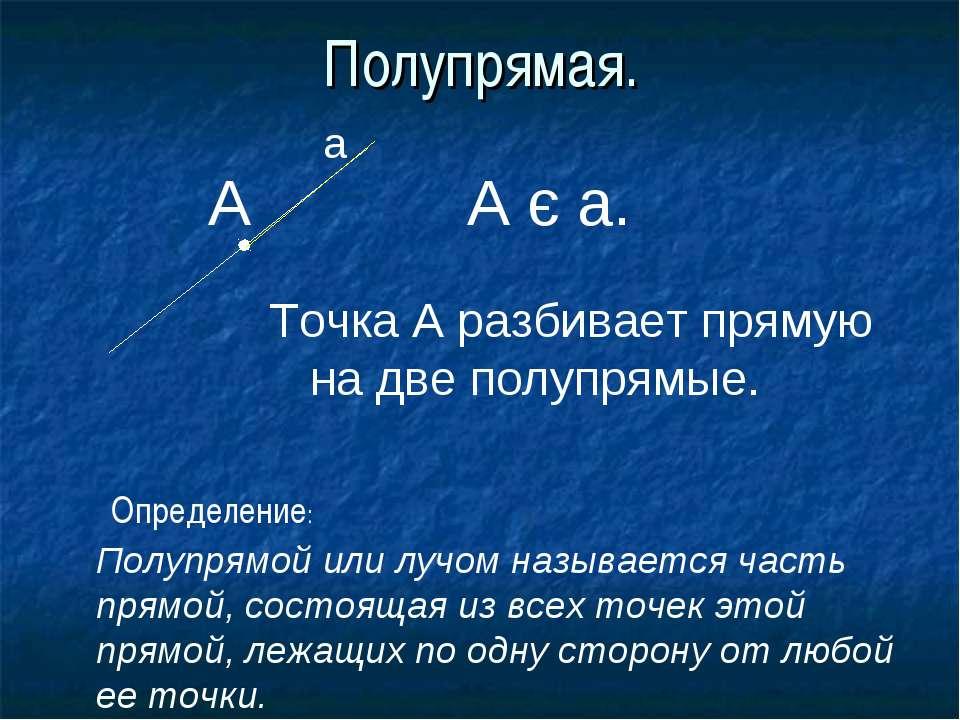 Полупрямая. а А А є а. Точка А разбивает прямую на две полупрямые. Полупрямой...