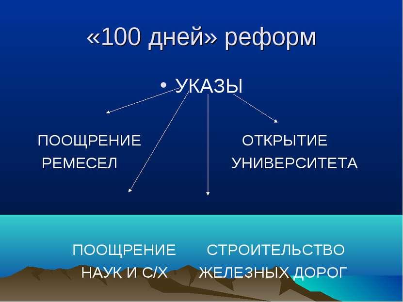 «100 дней» реформ УКАЗЫ ПООЩРЕНИЕ ОТКРЫТИЕ РЕМЕСЕЛ УНИВЕРСИТЕТА ПООЩРЕНИЕ СТР...