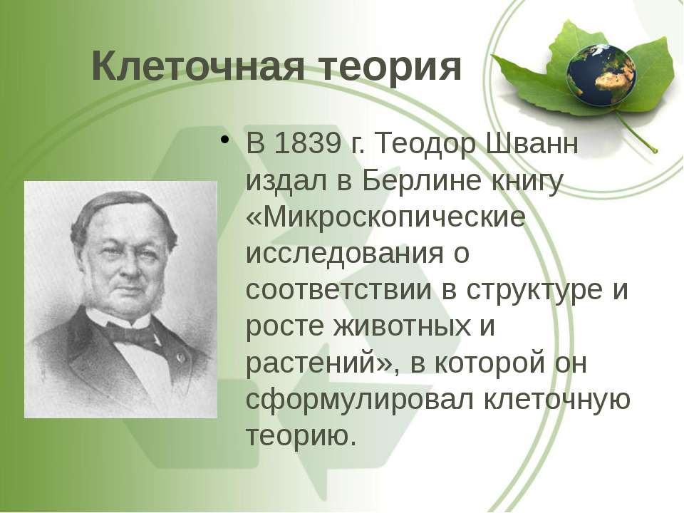 Клеточная теория В 1839 г. Теодор Шванн издал в Берлине книгу «Микроскопическ...