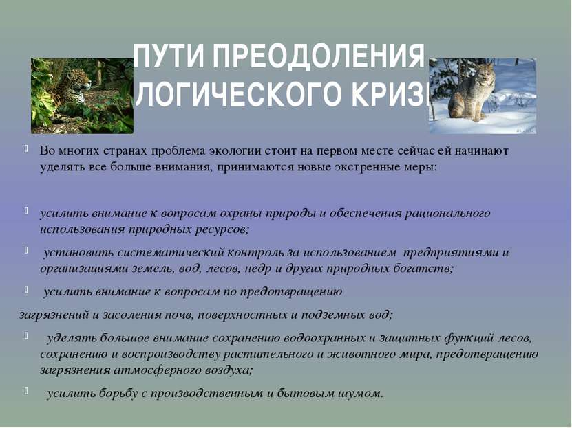 ПУТИ ПРЕОДОЛЕНИЯ ЭКОЛОГИЧЕСКОГО КРИЗИСА Во многих странах проблема экологии с...