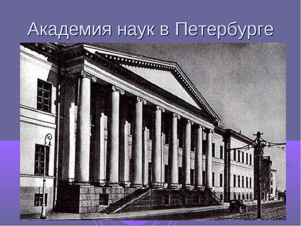Академия наук в Петербурге