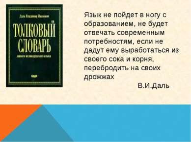 Язык не пойдет в ногу с образованием, не будет отвечать современным потребнос...