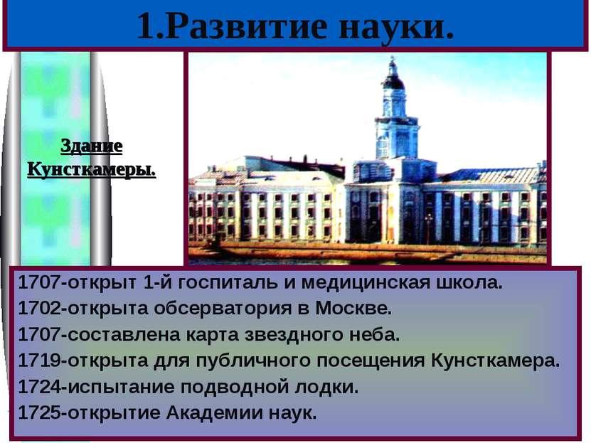 1707-открыт 1-й госпиталь и медицинская школа. 1702-открыта обсерватория в Мо...