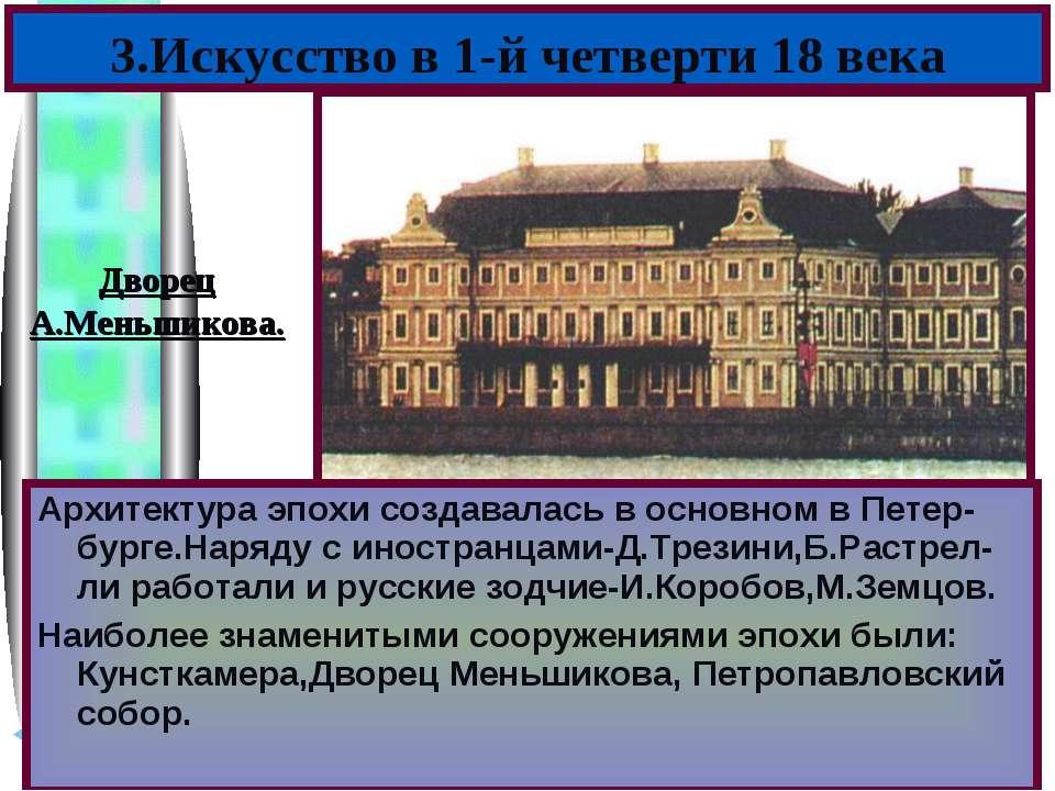 Архитектура эпохи создавалась в основном в Петер-бурге.Наряду с иностранцами-...