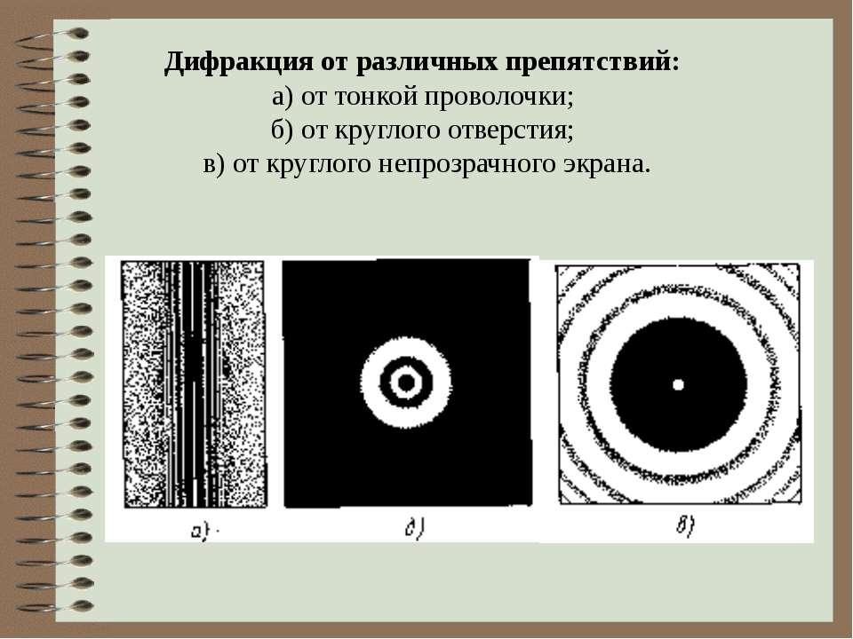 Дифракция от различных препятствий: а) от тонкой проволочки; б) от круглого о...