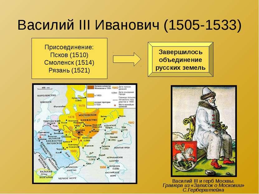 Василий III Иванович (1505-1533) Присоединение: Псков (1510) Смоленск (1514) ...