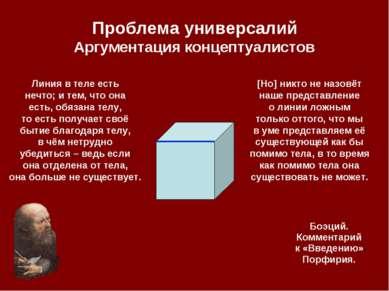 Проблема универсалий Аргументация концептуалистов Линия в теле есть нечто; и ...