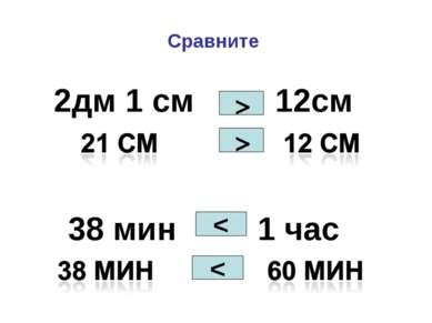 Сравните 2дм 1 см 12см 38 мин 1 час > < >