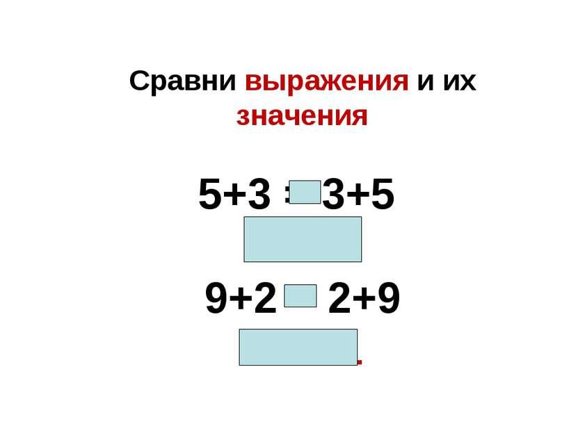 Сравни выражения и их значения 5+3 = 3+5 8=8 9+2 = 2+9 11=11