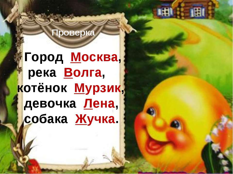Проверка Город Москва, река Волга, котёнок Мурзик, девочка Лена, собака Жучка.
