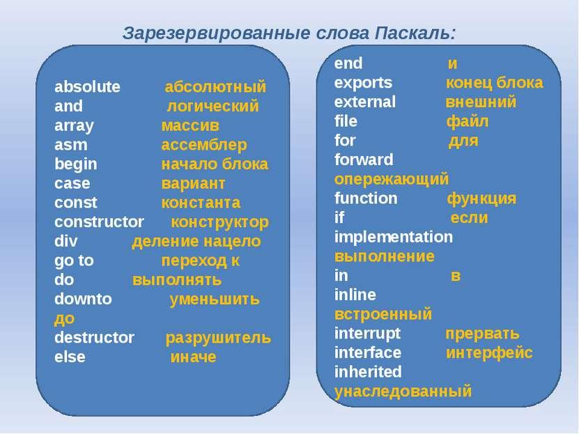 Зарезервированные слова Паскаль:  аbsolute абсолютный аnd логический array м...