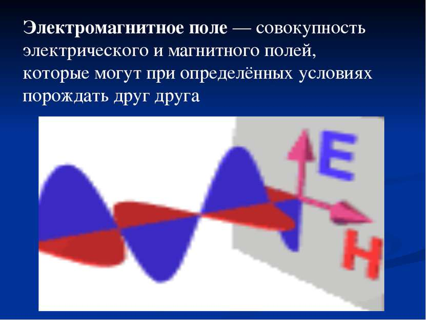 Электромагнитное поле— совокупность электрического и магнитного полей, котор...