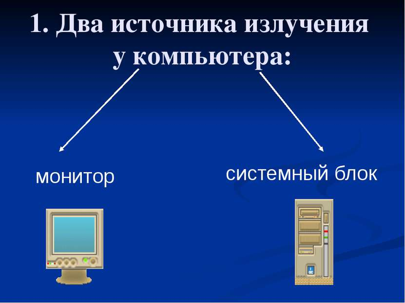 1. Два источника излучения у компьютера: монитор системный блок