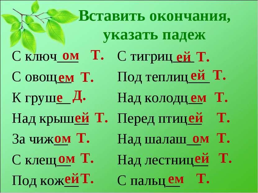 Вставить окончания, указать падеж С ключ___ С овощ__ К груш__ Над крыш__ За ч...