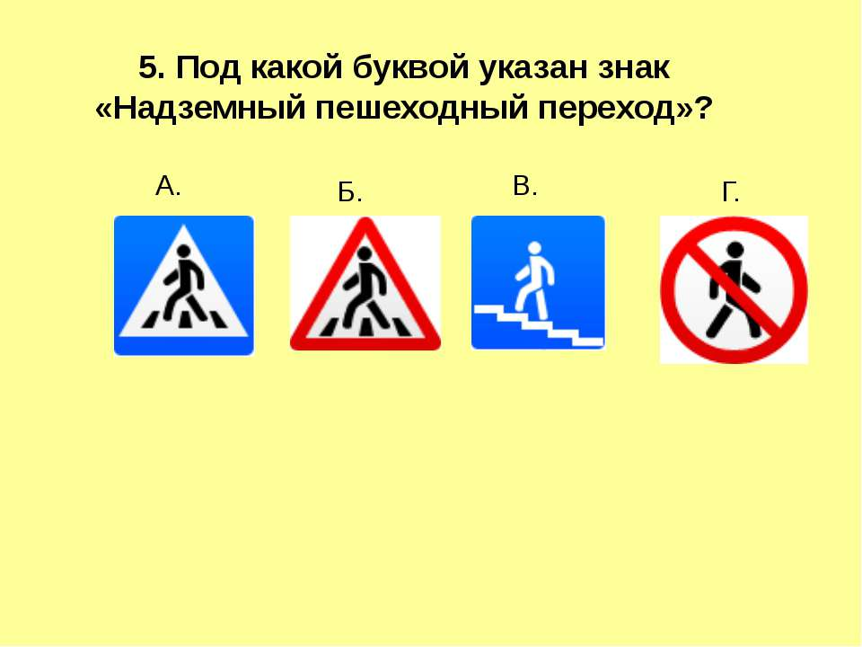 5. Под какой буквой указан знак «Надземный пешеходный переход»? А. Г. В. Б.