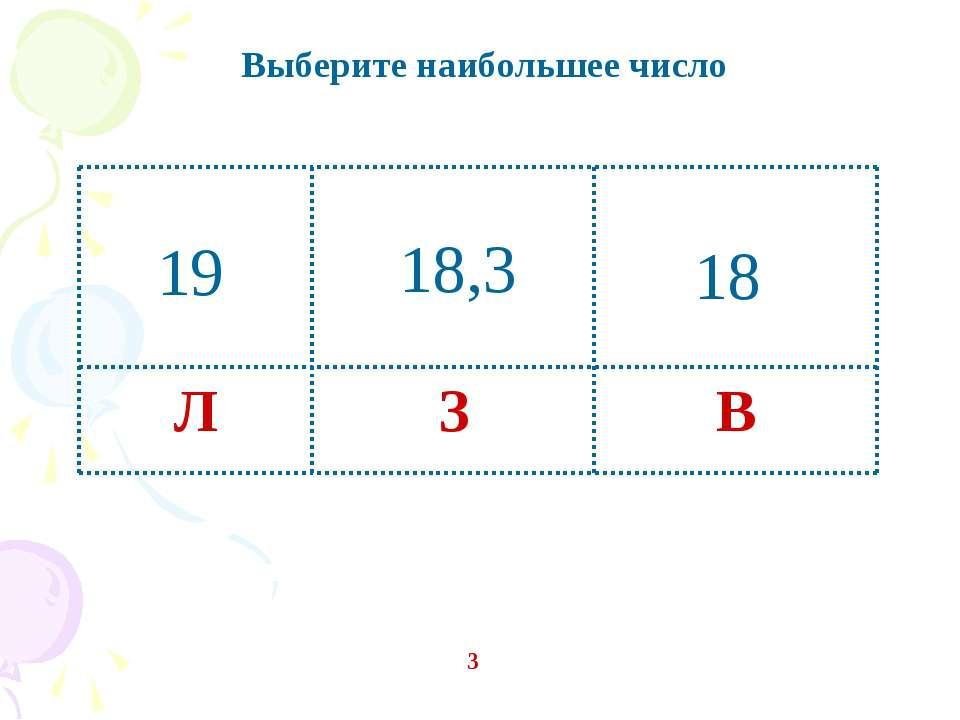 Выберите наибольшее число 3