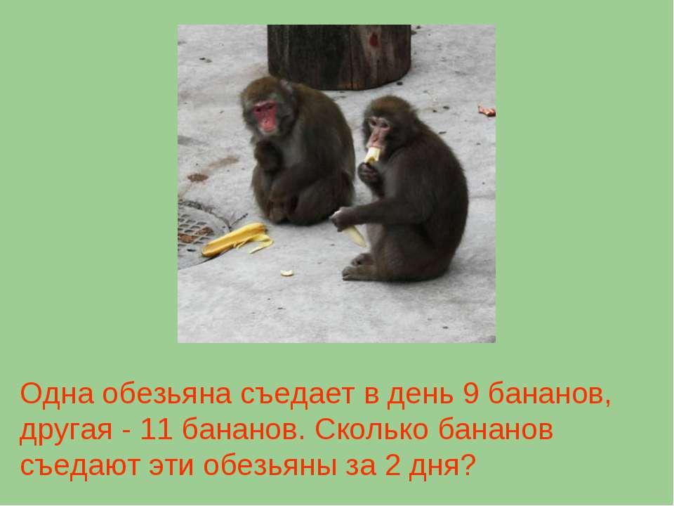 Одна обезьяна съедает в день 9 бананов, другая - 11 бананов. Сколько бананов ...