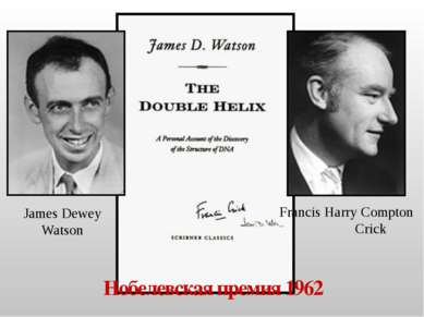 Francis Harry Compton Crick James Dewey Watson Нобелевская премия 1962